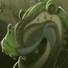 waruvial: a smiling toad-looking monster, from genius party beyond, toujin kit. (you should toadally watch genius party)