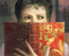 hunningham: Woman peering out from a book (More with Reading)