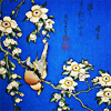 onyxlynx: Tree branch with white blossoms and inverted bird. on blue background. (ukiyo-e treebranch w/bird by Hokusai)