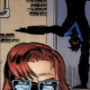 runespoor: in the background, dick doing a stand-up while in the foreground Babs faces the reader, frowning, eyes narrowed. (babs/dick otpotpotp)