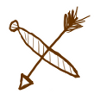 gqgqqt: Doodle of an arrow and a necktie horizontally crossed in an X. (necktie&arrow)