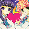 frigg: Tomoyo and Sakura from CCS, smiling at a camera an both girls holding the same heart shape (Tomoyo&Sakura love)