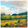semielliptical: autumn landscape with fields and fluffy clouds in a blue sky (landscape)