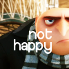 nemonclature: Gru looking sad. Text: Not happy (sad)
