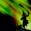 pensnest: Silhouette of witch dancing in a green texture (Witch dancer)