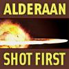 anghraine: alderaan blowing up; text: alderaan shot first (alderaan)