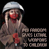 anghraine: picture of a small alien child with a lightsaber; text: my fandom gives lethal weapons to children (lethal weapons)