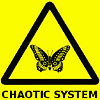 jadesfire: yellow warning sign with butterfly on it [text] Chaotic system (Chaotic system)