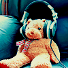 jadesfire: Teddy bear wearing headphones (Teddy in headphones)