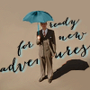 "sixbeforelunch: jarvis holding an umbrella, text reads ""ready for new adventures"" (mcu - jarvis adventures)"
