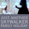 anghraine: vader stopping a blaster with his hand; text: just another skywalker family holiday (anakin [skywalker family holiday])