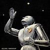 nightdog_barks: Silver robot with a heart pinned to his chest raises one hand to the stars (Heart Robot)