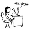 yaysunshine: Woman at desk repeatedly refreshing browser window (*refresh*)