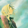 krait: Edward Elric staring upward, against a blue sky (skyward gaze)