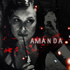 "creatingalegacy: Amanda holding the edge of a knife to her lips in a ""be quiet"" gesture. (say what?)"