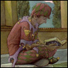 notashakespeare: A jester sits and reads a book (Jester reading icon made by Nani)