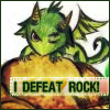 "iwillow: Cute drawing of a baby green dragon, gnawing on a rock. Text: ""I defeat rock"" (I Defeat Rock / Baby Dragon)"