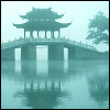 mysterie: Misty aqua toned image of a Pagoda and bridge (Misty Pagoda)