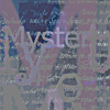 mysterie: Mysteri writen multiple times over unreadable hand writing in tones of grey, plum, and navy (Mysteri TypoGenerated)