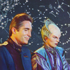 muccamukk: Jeff and Delenn sitting quietly together, background of starcharts. (B5: Constellations)