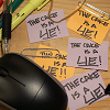 queelez: 'The Cake is a Lie' scribbled on several sticky notes (the cake is a lie)