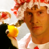 blue_rampion: Arnold Rimmer in a gingham dress, with Mr Flibble, the evil penguin puppet (Mr Flibble)