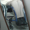 davidgillon: A pair of legs (mine) sitting in a wheelchair (wheelchair)