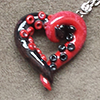 yhlee: red and black tentacle heart pendant (tentacle heart)