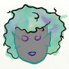 ickyharry: A greyskinned merperson with fins at the sides of their face and curly hair painted with yellow/green/purple watercolour (Ella)