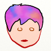 ickyharry: The head of a light skinned person with short hair, which is filled in with bright pink/blue/orange blended together. (Julia)