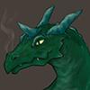 dragon_dealt: Kazul's head and neck, looking kinda smirky and breathing faint coils of smoke (kazul)