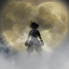 kareila: Sora outlined in silhouette against a heart shaped moon (kh2)