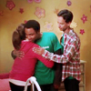 thingswithwings: troy hugging annie while abed pats her shoulder (OT3!) (comm - abed troy annie hug shoulderpat)