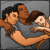 muccamukk: Fan art of Poe and Rey sleeping on Finn's chest. (SW: Cuddles)