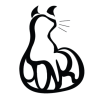 "silvrguillotine: Black-and-white stylized cat with the difficult-to-read word ""Ink"" making up the tail. (ink.:.tail)"