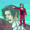 truthsnomiracle: Edgeworth points firmly at his opponent while shouting his point as special effects whoosh by! (Cue the speedlines)