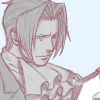 truthsnomiracle: Edgeworth is looking at a stack of papers or a notepad. (The perfect evidence..., Scribble scribble, Reading...)