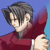 truthsnomiracle: Edgeworth looks away sourly while grabbing his left elbow with his right hand. (I don't want to talk about it, Emo)