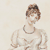 flourish: A fashion plate from the 1800s: a young girl wearing an Empire waist, pale yellow dress. (AoS Heyer)