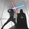 sally_maria: Luke and Vader cross sabers (Lightsaber Battle)