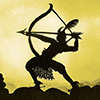theladyscribe: still image from The Adventures of Prince Achmed; archer aiming in profile (shot to the heart)