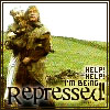 """valmora: """"Monty Python and the Holy Grail"""": King Arthur abusing a peasant, captioned """"Help, help, I'm being repressed!"""" (repression)"""