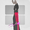 valmora: Rose Lalonde on a grey background, holding the Thorns of Oglogoth and slouching. (oglogoth)
