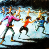 turlough: Prince Caspian & Trumpkin dancing with fauns, art by Pauline Baynes from 'Prince Caspian' ((narnia) celebration)