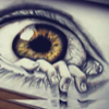 jesse_the_k: Closeup medical drawing of an eye where lower lashes are four fingers crawling up over the lower lid (hand eye comic)