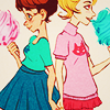 salticidae: jane and roxy hold hands and eat cotton candy (mom/jane)