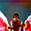 muccamukk: Phryne, mostly nude, arms crossing her breasts, holding feather fans. (MFMM: Fan Dance)