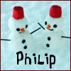 "pne: Two snowmen wearing red hats, with the name ""Philip"" written underneath (snowmen)"