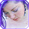belenen: photo of me with violet hair looking down, with a water-reflection overlay (ethereal)