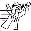 rionaleonhart: harry potter: extremely poorly-drawn dumbledore fleeing and yelling NOOOOOOOOO. (NOOOOOOOOO)